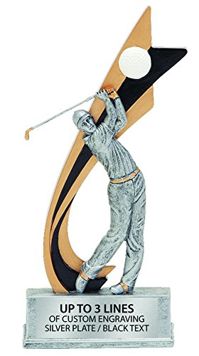 Resin Live Action Male Figure Golf Trophy (Figure Plaque)