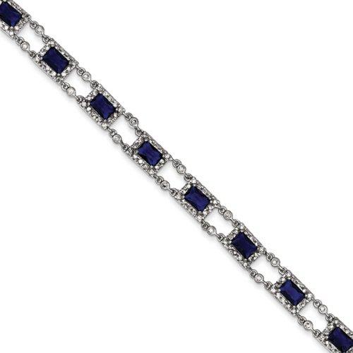 Icecarats Créatrice De Bijoux En Argent Sterling Bleu Et Clair Bracelet Cz De 7,25 Pouces
