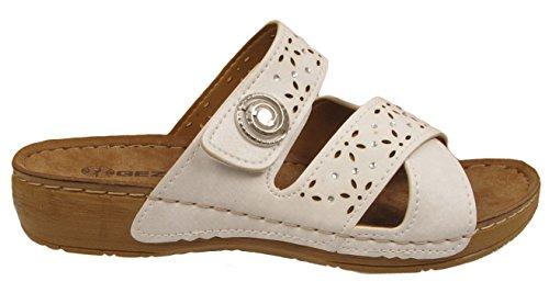 Mule Sandales Gezer Découpes Simili D'été Wedge Légère 3 M Faible Chaussures white À Femmes Cuir Enfiler De 29WDHIE