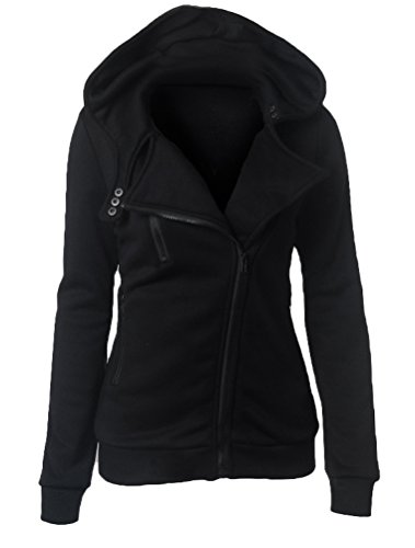 Autunno Solido Cappuccio Con Colore Nero Di Donna Felpa Sweatshirt Lunga Vogstyle Cappotto Manica Outerwear apn57q