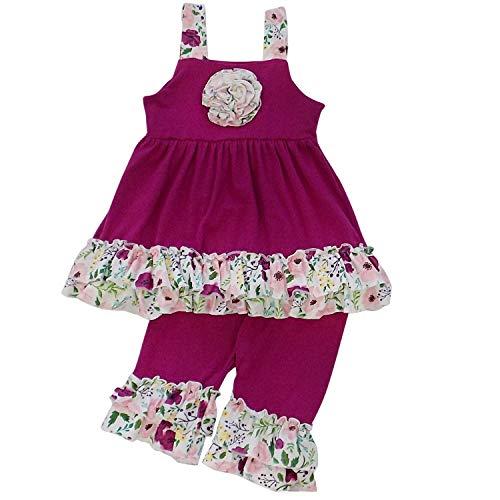 So Sydney Girls Toddler 2-4 Pc Novelty Spring Summer Top Capri Set Accessories (XS (2T), Ruffle Capri Set Plum Floral)