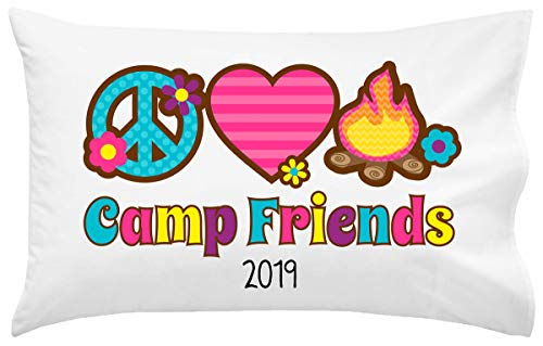 Script and Scribble Peace Love Fire Camp Autograph Pillowcase   Autograph Summer Camp Pillowcase   Sleepaway Camp Pillow Cover