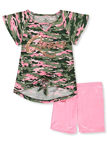 One Step Up Girls' Big Soft Knit Top and Short Set, Queen camo, 7/8