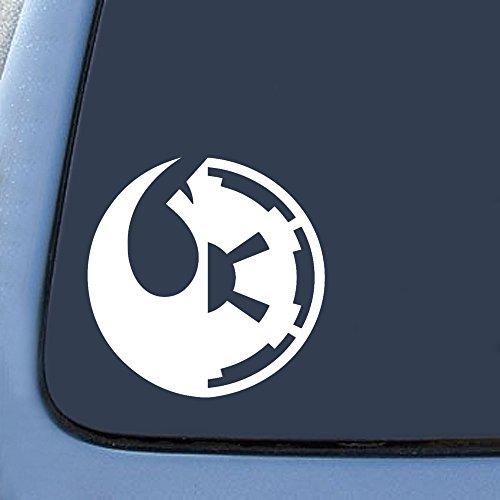 "Half Rebel Alliance Galactic Empire Logo Sticker Decal Notebook Car Laptop 6"" (White)"
