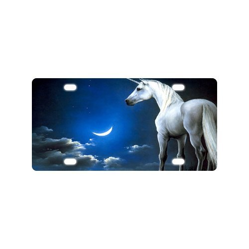 Unicorn With A Horn Crescent Moon Night Durable Aluminum Car License Plate 12