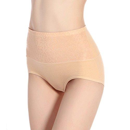 CS&BEAUTY Women's Premium Cotton Lace Hi Cut Panty Underwear,3 Pack,L/XL (L, Beige) -