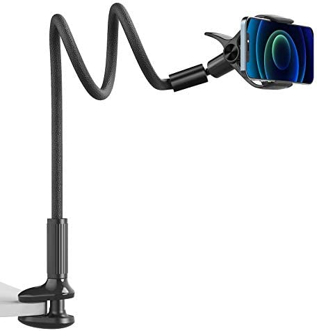 Gooseneck Phone Mount Holder – SAIJI Flexible Long Arm 360 Adjustable Ball Head for Bed, Lazy Bracket Clamp Desk Stand, Compatible with Cell Phone 12 11 Pro Max XR 8 Plus, Overall Length 37.4in(Black)