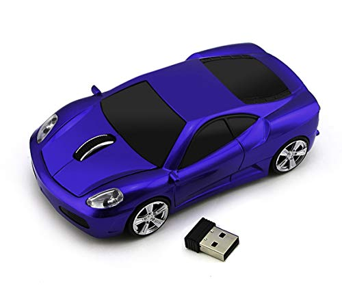 Car Shape Mouse, 2.4G Cool Sport Car Wireless Optical Mouse Cordless Gaming Mice, 1600 DPI with USB Receiver for PC Laptop Desktop Mac (Dark Blue)