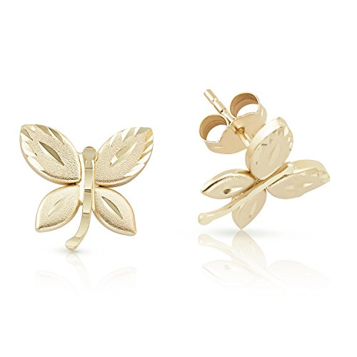 14k Solid Yellow Gold Butterfly Stud Push Back Earrings For Women and Kids ()