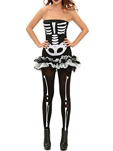[VIGVOG Women's Sexy Skeleton Catsuit Halloween Costume Black Dress] (Cowgirl Costumes Diy)