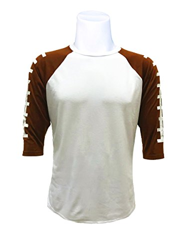 Football T-shirt Designs - ILTEX Football Raglan 3/4 Sleeve Baseball Style Kids & Adult Unisex (Adult Medium, White/Brown)