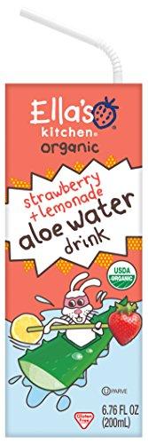 Ellas Kitchen Big Kids Organic Aloe Water Juice Blend Drink, Strawberry + Lemonade, 8 Count (Pack of 4)