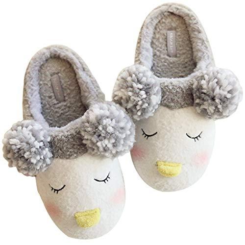 HALLUCI Women's Cozy Fleece Memory Foam House Trick Treat Halloween Slippers (9-10 M US, The Emperor Penguin) -