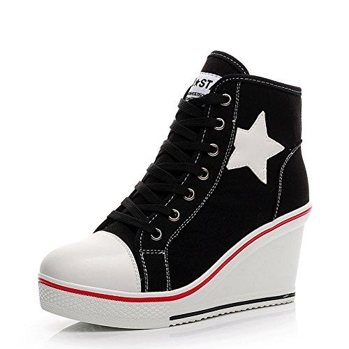 Women's Canvas Wedge Shoes High-top Platforms Side Zipper Lace up Boots 630black c6I11ofvNN