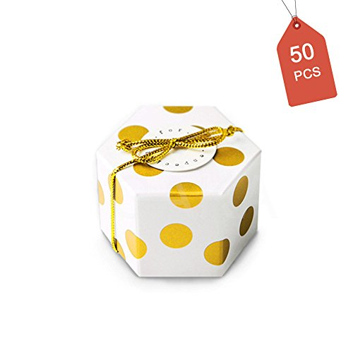 Chocolate Case Pack - GAKA Gold Polka Dot Candy Box with Gold Ribbon and Round Card, Hexagon Gold Dots Style Design for Wedding Candy Box,Baby Shower Box,DIY Chocolate Cookies Case,Birthday Party Supplies Pack of 50