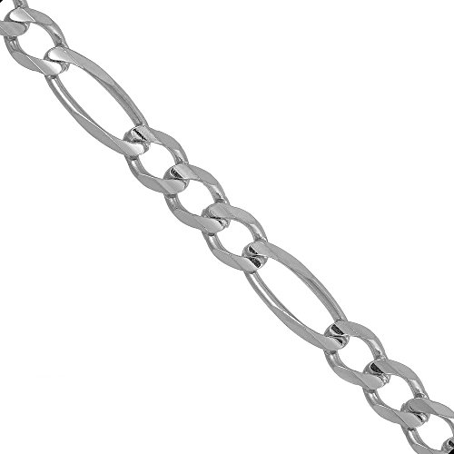 "JewelStop 925 Sterling Silver Rhodium Plated 3.0 mm Figaro Chain Necklace, Lobster Claw - 18"", 4.3gr."