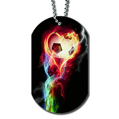 Soccer Flames - Dog Tag Necklace