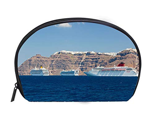 Half-moon Cosmetic Bag Cruise Ships In Fira Santorini Ladies Travel Convenience Small Wash Bag Storage Bag