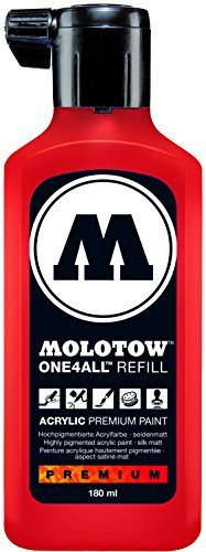 Molotow ONE4ALL Acrylic Paint Refill, For Molotow ONE4ALL Paint Marker, Traffic Red, 180ml Bottle, 1 Each (692.013)