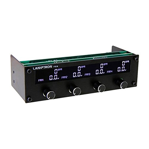 Lamptron FC6 Fan Controller, 20W x 4 Channels with Changeable Color Display (Black Faceplate)