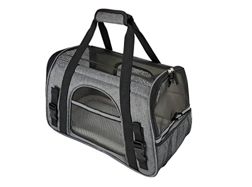 Premium-Pet-Travel-Carrier-Airline-Approved-Soft-Sided-Comes-with-Two-Pet-Mats-Perfect-for-Small-Dogs-and-Cats-Charcoal-Grey