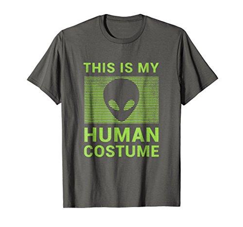 Mens Funny Alien Halloween Shirt Easy Costume Gift Idea Large Asphalt