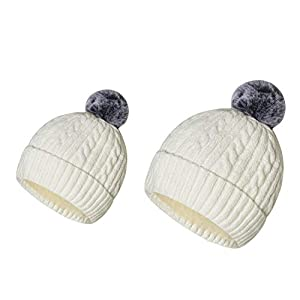 2PCS Parent-Child Hat Warmer, Mother and Baby Winter Hat Family Crochet Beanie Ski Cap