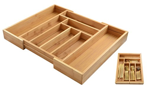 ADORN Expandable Bamboo 6 - 8 Compartment cutlery/Flatware Organizer | Utensils & Utility-Drawer Organizer | Added height 2.5