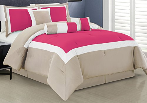 7 Piece Oversize HOT PINK / LIGHT GREY / WHITE Color Block C