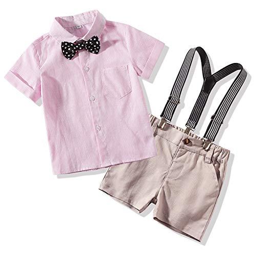 PinkLu Camisa de Rayas bebé Manga Corta Raya Conjuntos Corbata ...