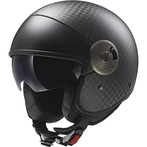 LS2 Helmets Cabrio Carbon Open Face Motorcycle Helmet with Sunshield (Black, (Dot 3/4 Helmet)