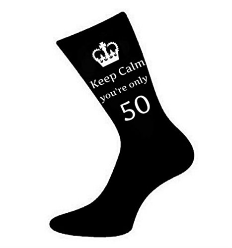 Mens Keep Calm You're Only 50 Black Socks 50th Birthday by Oaktree Gifts