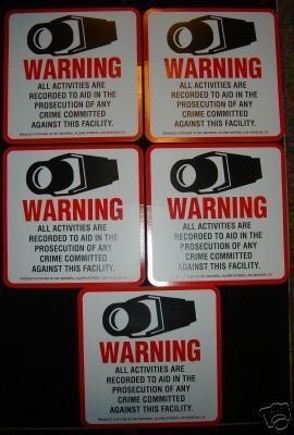 CCTV SECURITY WARNING DECALS For Sale
