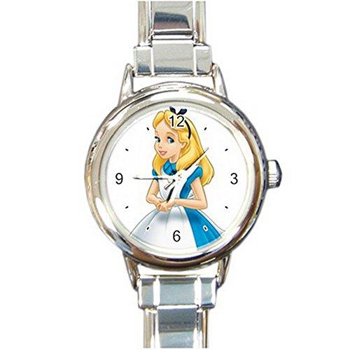 Alice in Wonderland Cartoon Custom Design Round Italian Charm Watch Limited Edition#1 (Alice In Wonderland Shop)