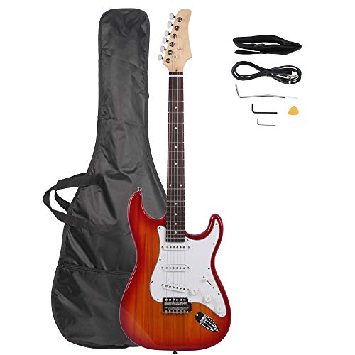 Z ZTDM Full Size Rosewood Fingerboard Electric Guitar with Gigbag Strap Amp Wire Tremolo Arm Cord for Adult Student Beginner Sunset Red