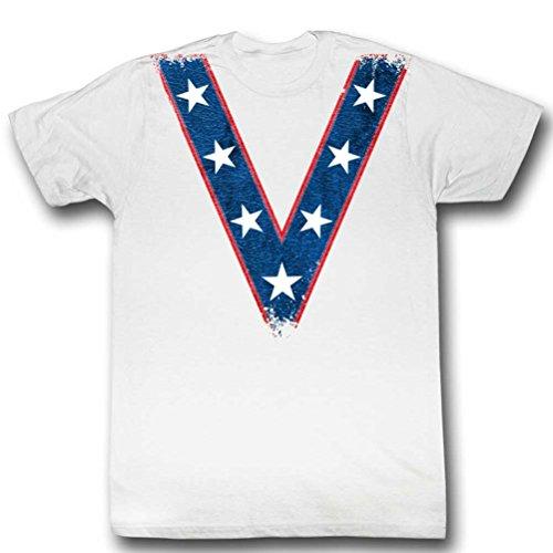 Evel Knievel Costumes (Evel Knievel Costume T-shirt, White, 2XL)