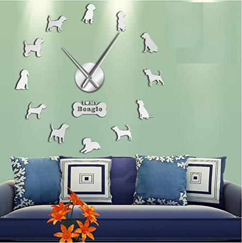 Small Hound Dog Breed English Beagle DIY Wall Art Decoration Giant Wall Clock Beagle Dog Pet Lovers Home Decor Wall -