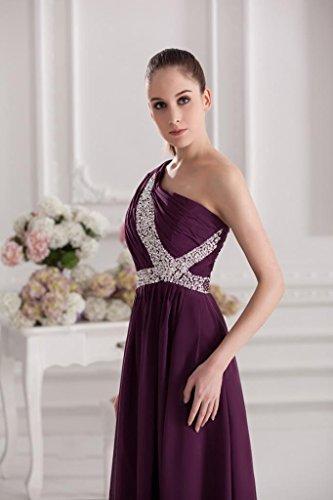 Chiffon Abendkleid BRIDE GEORGE Schulter Lila ein Lila lange elegantes A6AB4wqf