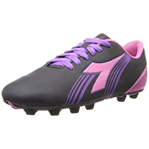 Diadora Soccer Avanti MD JR Soccer Shoe (Toddler/Little Kid/Big Kid),Black/Pink/Purple,2.5 M US Little Kid