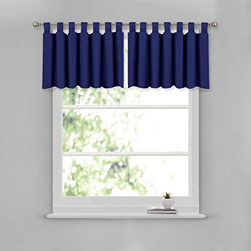 NICETOWN Navy Kitchen Window Curtain Set - Home Fashion 52W x 18L Tab Top Valances Short Window Drapes for Small Window (Dark Blue, 2 Pieces)