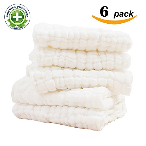 6-Pack Baby Washcloths - reusable wipes,Super Soft and Water Absorbent,Newborn Cotton Gauze Towels for baby Sensitive Skin - Muslin Warm Baby Bath Towels for shower gift (13x13 inches)