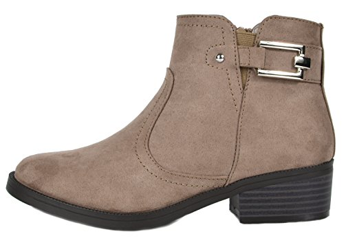 Women's Booties Heel Alexis Ankle Taupe Riding Low 03 Stacked TOETOS 6d0qUfw6