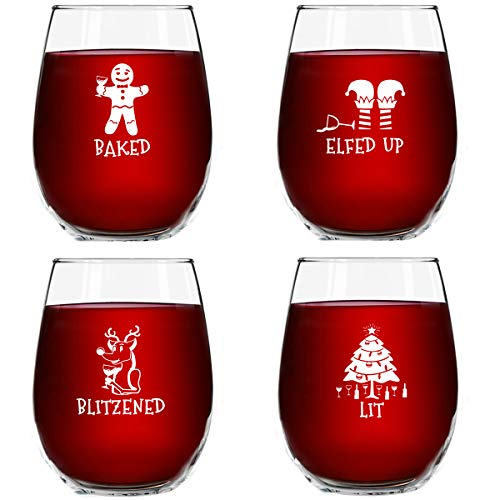 Drunk Christmas Funny Stemless Wine Glasses Set of 4 | Hilarious Christmas Themed Wine Glass for Holiday Party | 4 Designs | 15 oz Cheerful Party Cups & Gift Exchange Idea for White Elephant, Xmas (Exchange Gift Party Ideas)