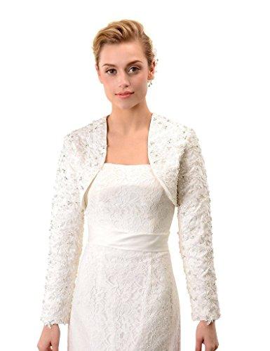 r Long Sleeves Satin Bridal Wedding Jackets Coat US 16 White (Satin Wedding Bridal Bolero)