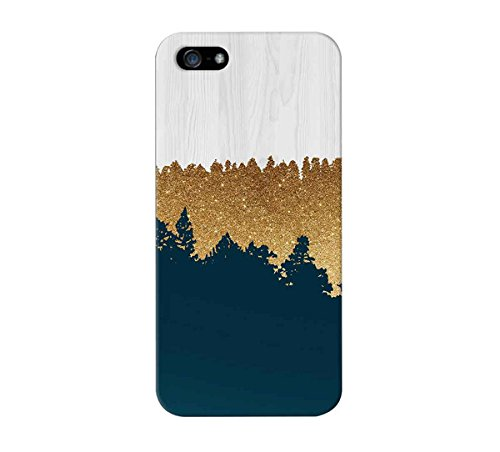 Geometric Gold Glitter x Navy Blue x White Wood Design Case for iPhone 6 6 Plus iPhone 5 5s 5c iPhone 4 4s Samsung Galaxy s5 s4 and Note 4 (Wood Iphone 5 Case Blue)