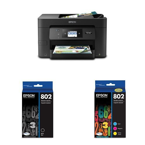 Epson WorkForce Pro WF-4720 Wireless All-in-One Color Inkjet Printer, Copier, Scanner with Wi-Fi Direct with Ultra Black Cartridge Ink and Ultra Color Combo Pack Cartridge Ink