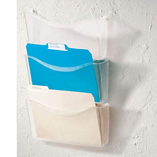 Office Depot Unbreakable 3-Pocket Letter-Size Wall Files, Clear, Pack of 3, 59755