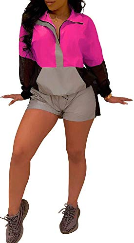 (Womens Reflective Windbreaker 2 Pieces Outfit Long Sleeve Shirt Shorts Jogger Set Romper Tracksuit Pink)