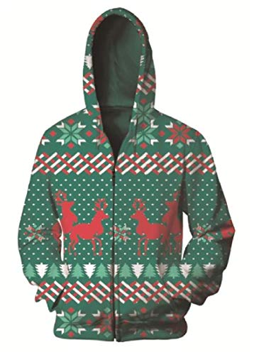 Vska Mens Zipper Digital Printed Christmas Couple Hoodies