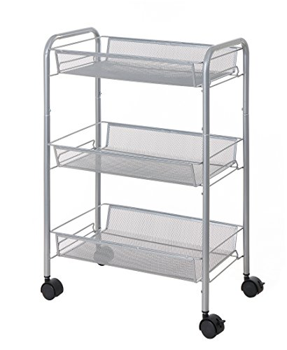 Finnhomy 3 Tier Metal Mesh Rolling Cart Multi Purpose Rolling Utility Storage Cart with 3 Baskets, Laundry Cart Space Saver, Perfect for Home Accessories Laundry Kitchen and Office Suppliers, Silver